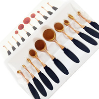 Private Label Oval Makeup Brush Gold Cosmetics Makeup Brush Set
