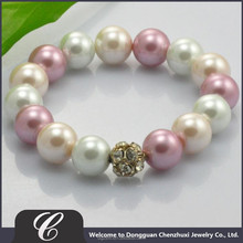 Factory Price Bead Wholesale,2015 Luxurious Design Mix Colored Imitation Pearl Bead Bracelet
