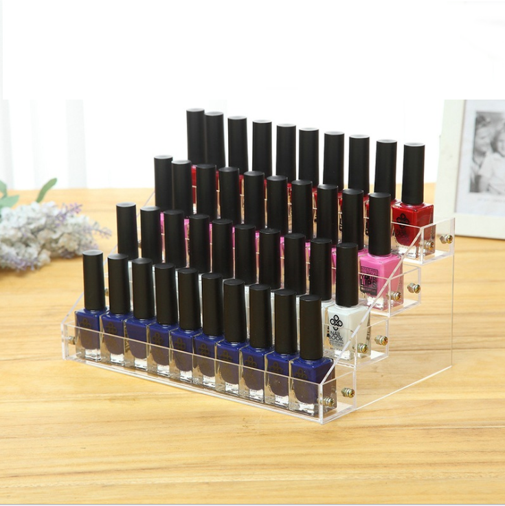 Acrylic Lipstick Holder Display Stand Cosmetic Opi Nail Polish Display Rack with 4 Layers