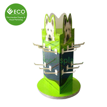 3 Sides Rotating Cardboard Peg Pop Display, Counter Hook Display Stand