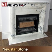 Electric Natural White Marble Fireplace