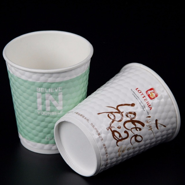 Customized Disposable Insulated Double Wall Diamond Coffee Paper Cup