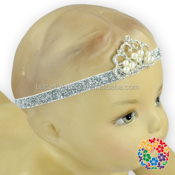 Fancy Baby Infant Plastic Crown Wedding Tiara Handmade Elastic Beaded Headband Bulk Tiara Hair Accessories