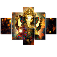 Cheap Price Digital Hindu Gods Canvas Painting 5 Panels Framed For Home Decoration