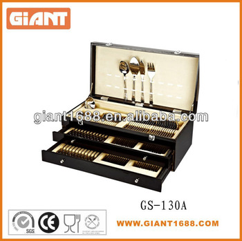 24/72/84/125 pcs stainless steel cutlery set with wooden box