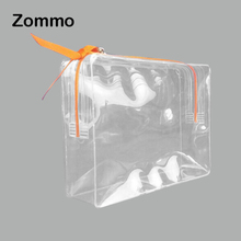 fashion square transparent plastic travel cosmetic bag for women