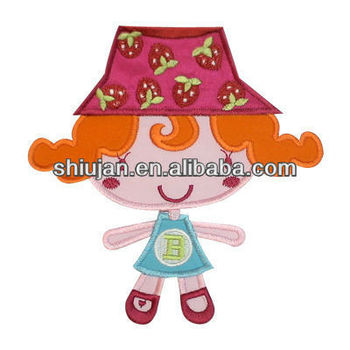 lovely carton girl motif applique embroidery patches/badges for kids