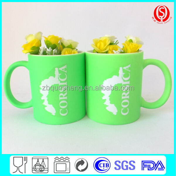green straight ceramic coffee mug with handle