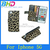 New Arrival leather belt clip flip wallet case for iphone 5