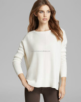 pullover long sleeves winter round neck white cashmere sweater women