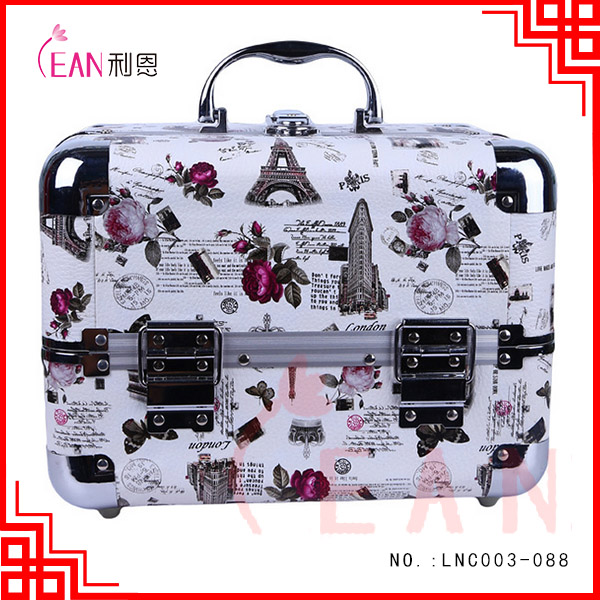 2017 special flower pattern Jewellery nail polish case aluminum cosmetic makeup case