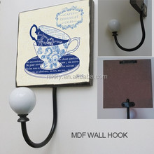 Factory direct wooden hooks & home decorative hat and coat hooks & distressed wooden hook metal hook