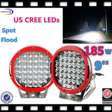 Super bright 9' 185W LED Work Light Red Spot Flood Light,ARB 185w high power black led work light 5w chip