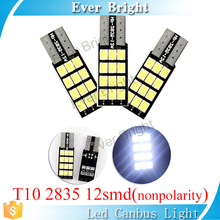 Nonpolarity free shipping led vehicle lights for car design lighting interior w5w T10 led canbus 12 smd 2835