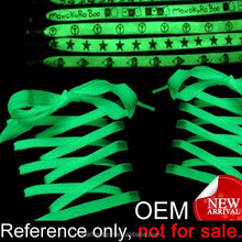 custom printed logo funky flat elastic luminescent glowing shoelace