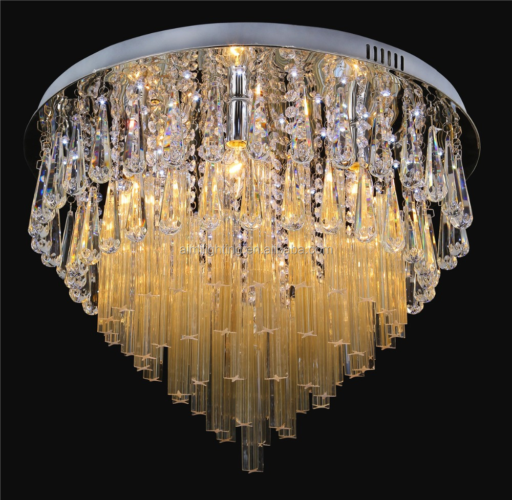 2017 Hot sell modern crystal indoor ceiling light with MP3 and RGB and remote control, Factory cheap price