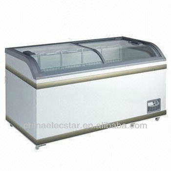 glass door CVS island Freezer, Suitable for Supermarket Frozen Food Display, ice cream display freezer