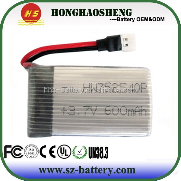 Customized 752540 RC lithium polymer battery 752540p 3.7v 500mah batteries for Syma X5HW
