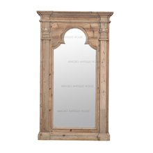 classic industry french boutique reproduction vintage accent reclaimed arch window shaped white pine wood decorative mirror