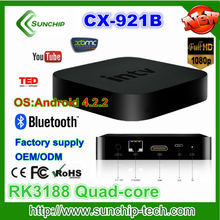android tv box xbmc preinstall Android 4.2.2 rk3188 Quad core android smart tv box