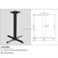 Black Cross Cast Iron Table Leg