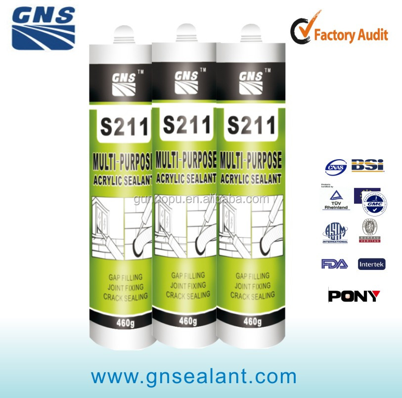 GNS S211 gp water based rubber Acrylic Sealant with good adhesion can provide long lasting flexible seal