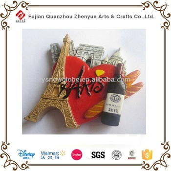 High Quality Custom 3d resin Fridge Magnets,Hand Painted Paris souvenir magnet