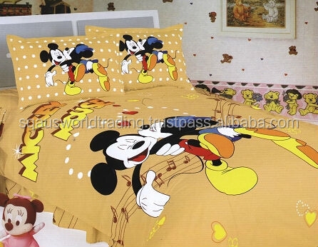 Baby Cartoon Printed Bed Sheet Mickey Mouse Duvet Cover