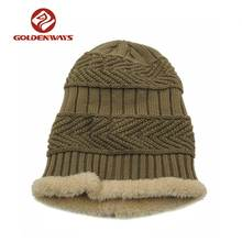 Classic unisex outdoor thick ski cap warm winter knitted hat with fleece