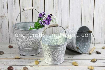NEW!!! Antique Buckets/Tin Flower Pot/Container with Wooden Handle and Flowers Carved H11S004B