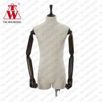 Customized realistic men fiberglass wooden arm mannequin foam