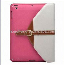 Foldable/Button Belt Flip/Folio Leather Case for iPad Mini with Stand Holder and Belt Hand Strap