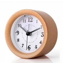 Promotion gift multi color mini lovely wooden alarm clock factory direct sales table desk clock