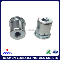 m6 size carbon steel knurled rivet nut with white plated