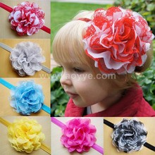 Hot style mesh lace chiffon flower children's hair band baby headdress flower hair rubber band