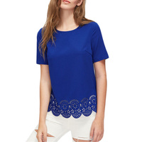 Blue Laser Cut Out Scallop Hem