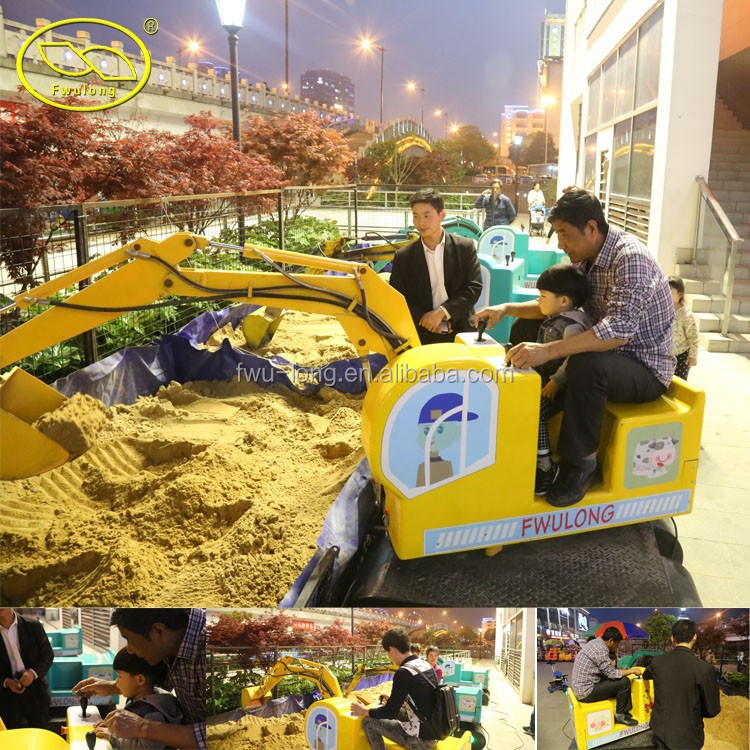 Professional Manufacturer Fwulong Outdoor And Indoor Amusement Rotating Kids Rides Excavator Kids Digger With MP3 Player