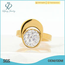 Fashion jewelry gold women beautiful stainless steel crystal wedding ring