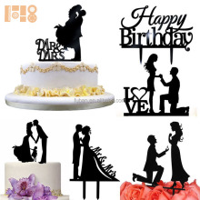 new products High Quality Bride and Groom acrylic cake toppers for wedding party
