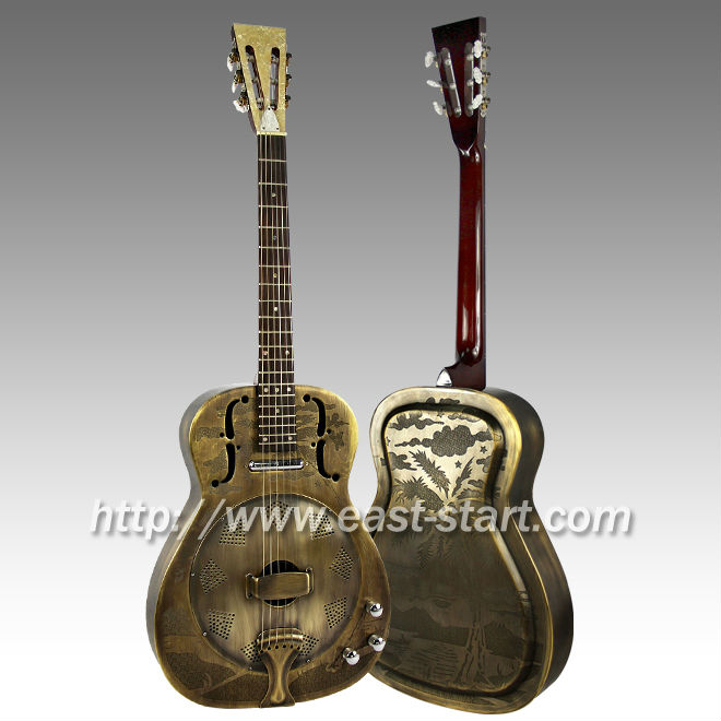 Bronze & Engraved Brass Single Cone Electronics Resonator Guitar