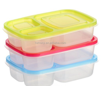 3 Compartment Reusable Food Storage Containers for Kids and Adults, Microwave, Dishwasher Safe, Multi-Colored, Set of 3
