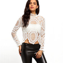 Latest design fashion women wear White Long Sleeve Hollow Lace Blouses