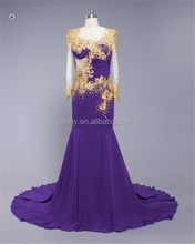 Yellow Lace SHMY-E176 Purple Chiffon long Sleeve Beaded Arabic Evening Dress Wholesale