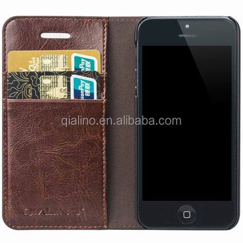 QIALINO High quality hot sale genuine leather flip wallet mobile phone cover case for iphone 5