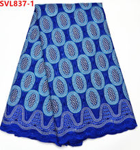 Royal blue cotton African lace fabric / African Swiss voile lace with stones