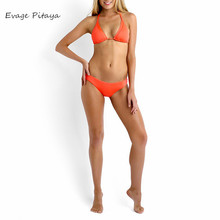 Slide Backless Halter Orange With sling Sex With padded women in bikinis