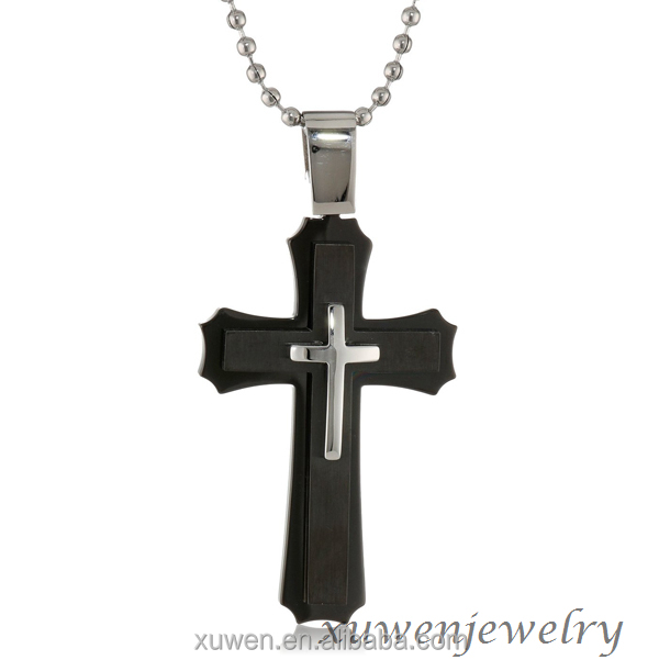 bulk sale black plated 316l stainless steel jesus cross images