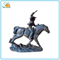 Factory price custom resin bronze man ridding on running horse sculpture