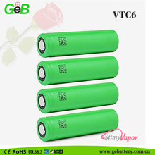 Authentic 18650 VTC6 3.7v 3000mah cylindrical rechargeable electronic cigarette li-ion battery with 30A discharge and flat top