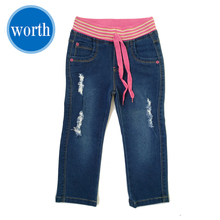 Vip Treatment Jeans Little Girls' Pull-on 98% Cotton 2% Spandex Ripped Jeans